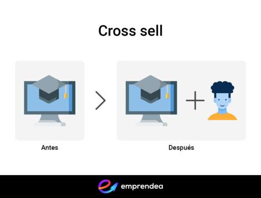 Ejemplo de cross sell o venta cruzada al comprar un curso