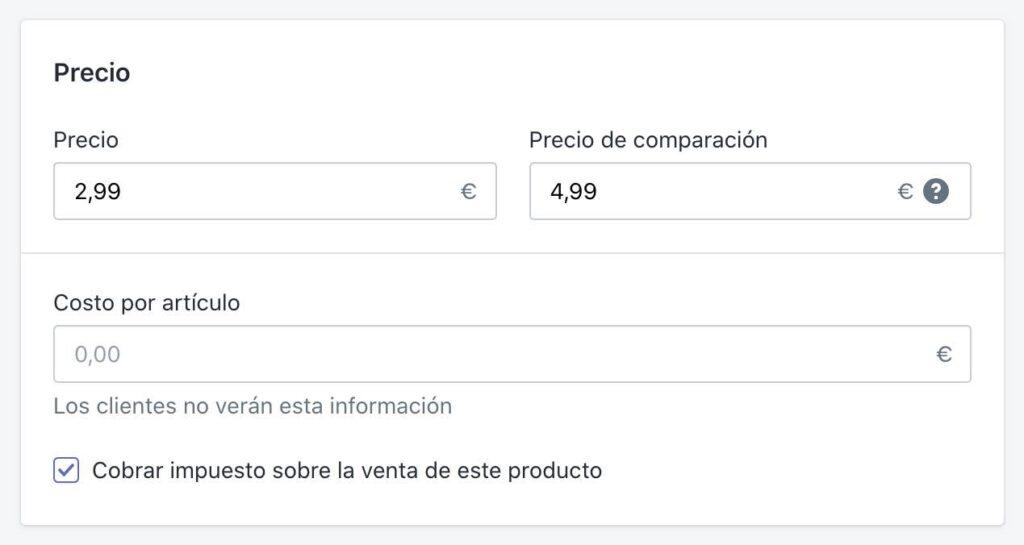 Añadir precio a productos en Shopify