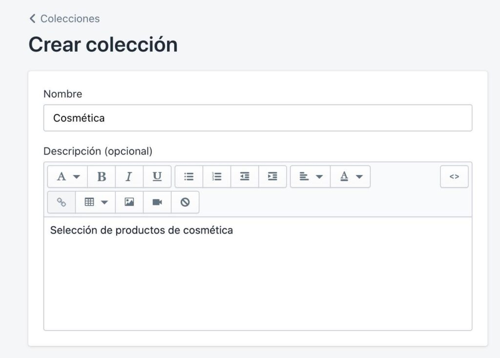 Crear colección en Shopify