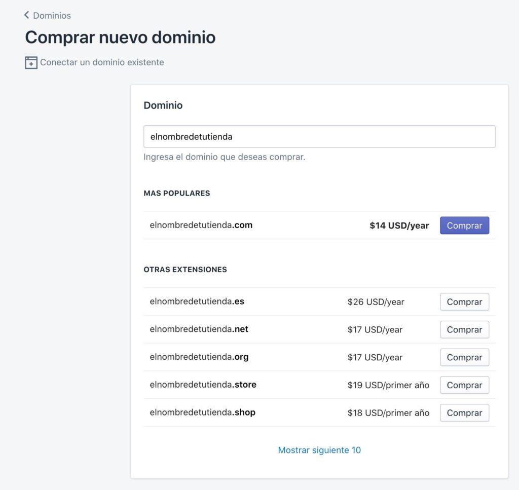Comprar un dominio en Shopify