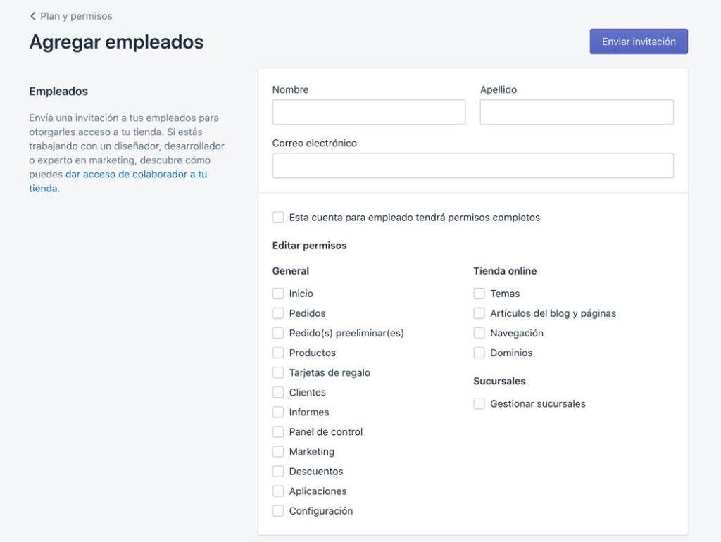 Agregar y gestionar empleados tienda online Shopify