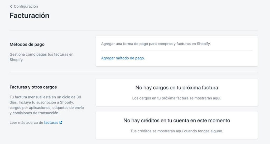 Configurar facturación en Shopify