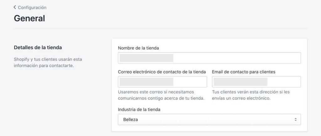 Configuración general de Shopify