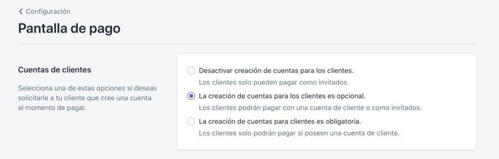 Configurar pantalla de pago en Shopify