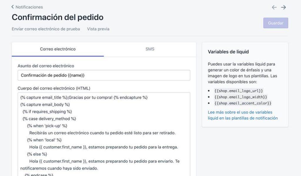 Modificar plantilla de notificación de Shopify