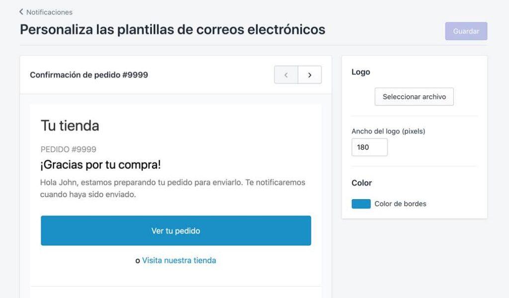 Personalizar plantilla de notificaciones de Shopify