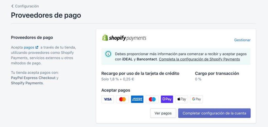 Configurar pagos con tarjeta en Shopify