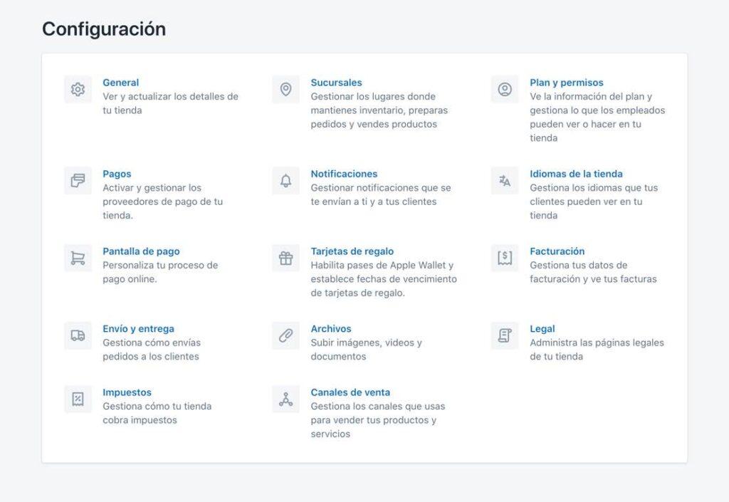 Configuración de Shopify