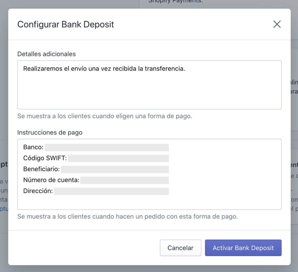 Configurar pagos con transferencia bancaria en Shopify