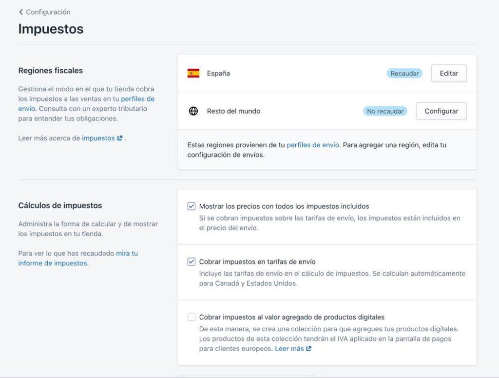 Configurar impuestos y tasas en Shopify