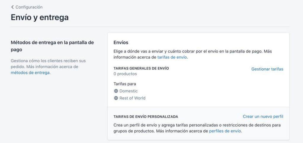Crear tarifas de envío en Shopify