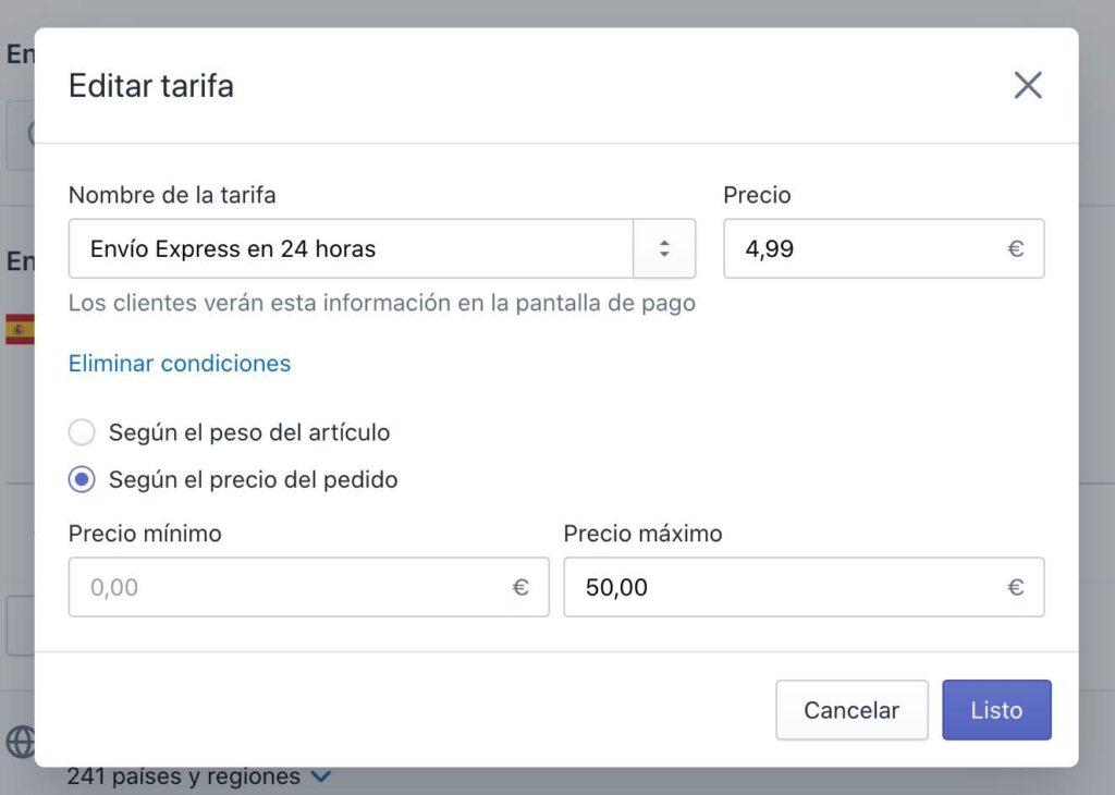 Editar tarifa de envío en Shopify
