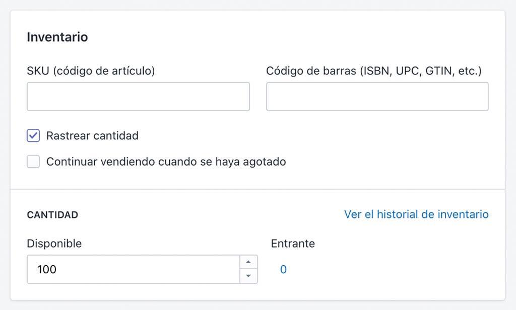 Configurar inventario en Shopify