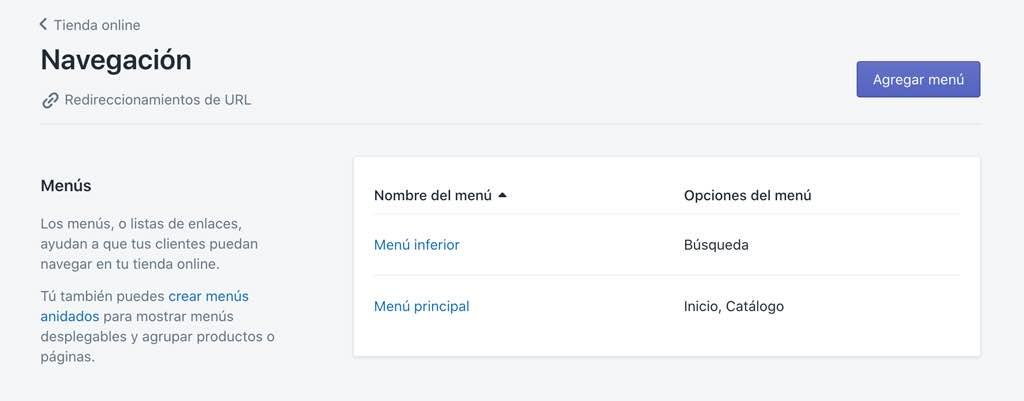 Editar menú de navegación en Shopify