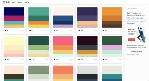 Buscar paleta de color en Color Hunt