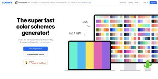 Generar combinaciones de colores en Coolors